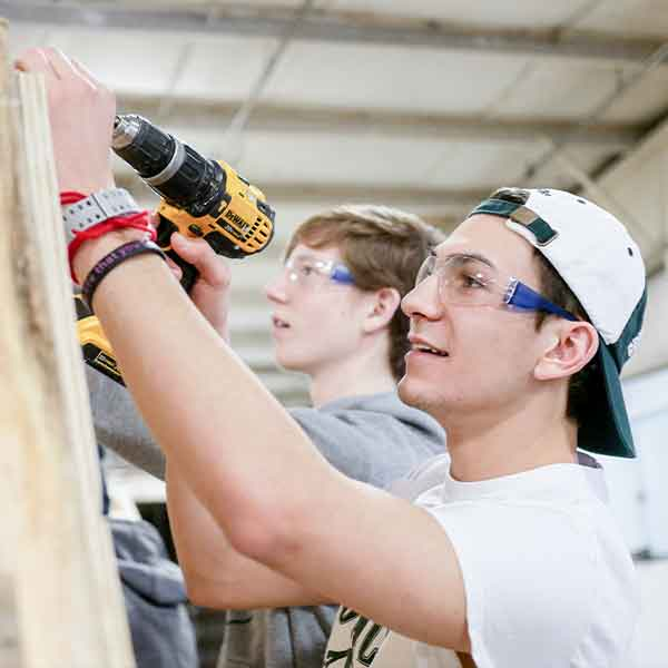 Students at the Habitat Builders Academy